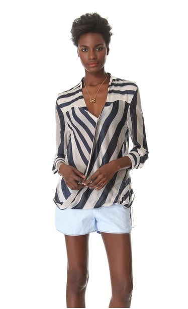 Both the draped front and bold stripes add up to two major Spring trends on this 10 Crosby Derek Lam striped surplice blouse ($375).