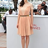 Marion Cotillard wore a pale pink Dior dress with neon heels to the Rust and Bone photocall at the Cannes Film Festival.