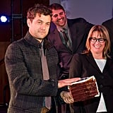 Joshua Jackson wore a plaid coat at the event.