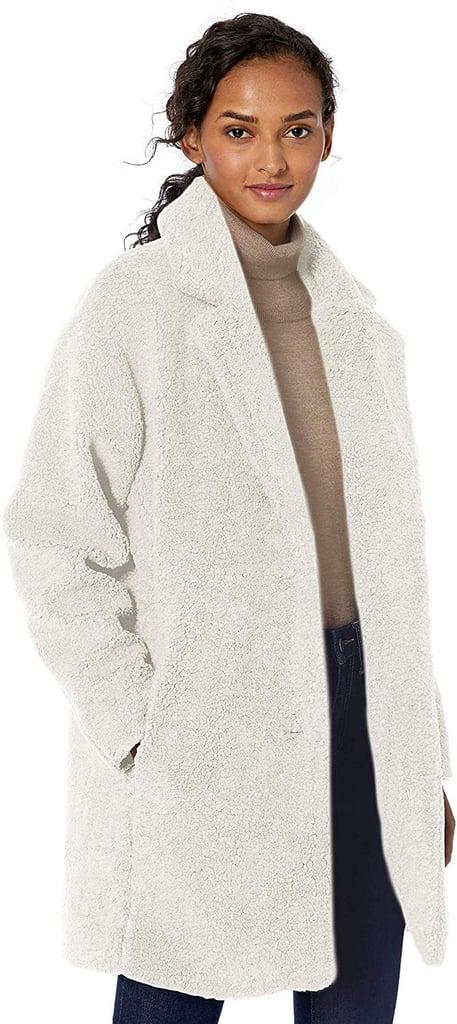 Daily Ritual Women's Teddy Bear Fleece Lapel Coat