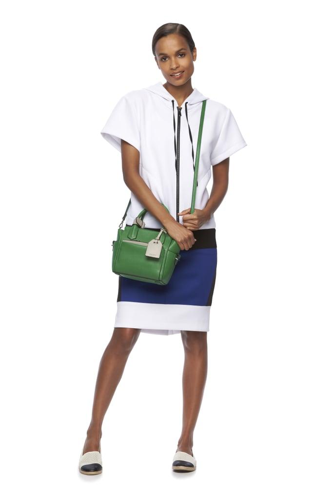 Colorblock Scuba Hoodie ($68), Colorblock Scuba Skirt ($50), and Atlantique Convertible Mini Satchel ($89)
