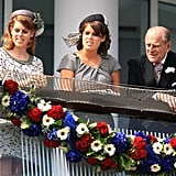 With her sister, Princess Eugenie, and their grandfather Prince Philip at the Investec Derby in 2012.