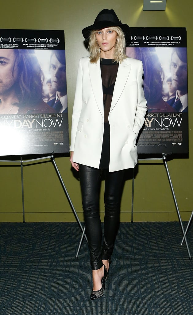 Anja Rubik channeled Winter white with a luxe twist in leather bottoms and an ivory blazer.