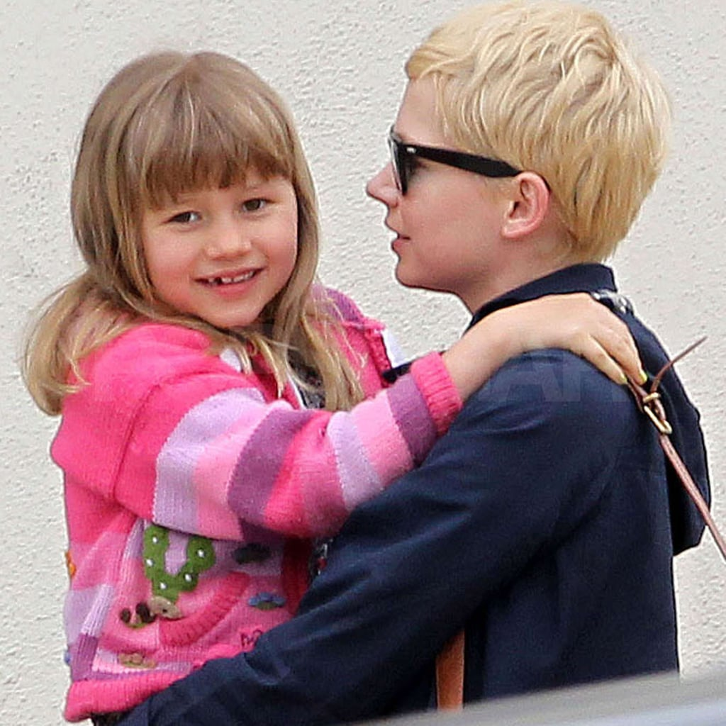 Matilda Ledger flashed a smile as she hugged Michelle Williams.