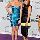 Maggie Rizer in Nicole Miller, with the designer