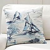 Pottery Barn Sail Boat Print Stripe Pillow Cover