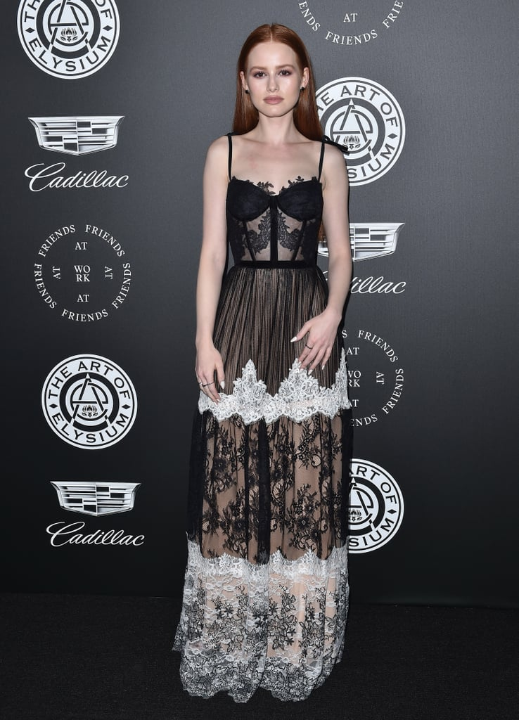 Wearing a Fabiana Milazzo dress and Jimmy Choo shoes at an event in 2017.