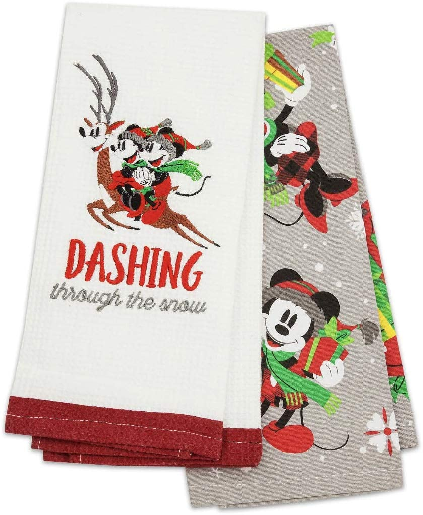 Disney Parks Mickey Mouse and Pals Christmas Holiday Kitchen Towel Set