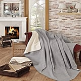 Ottomanson Gray and Ivory Reversible Soft Cotton Cozy Fleece Blanket ($20)
