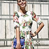 Yes, you can still wear light florals for Fall, like this Dolce & Gabbana silk dress ($4175).
