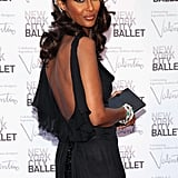 A closer look at Iman's ruffle-back detail.