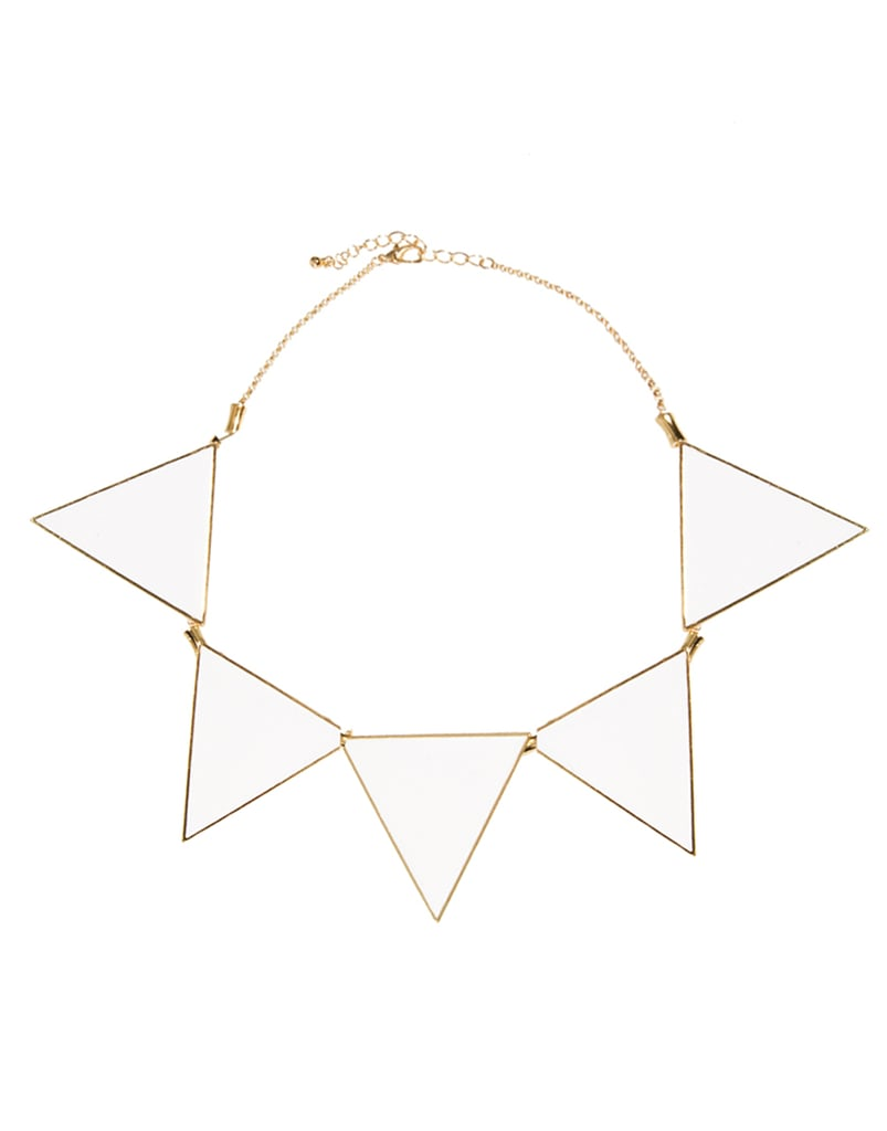 A great addition to a striped boatneck tee.  ASOS Triangle Collar Necklace ($26)
