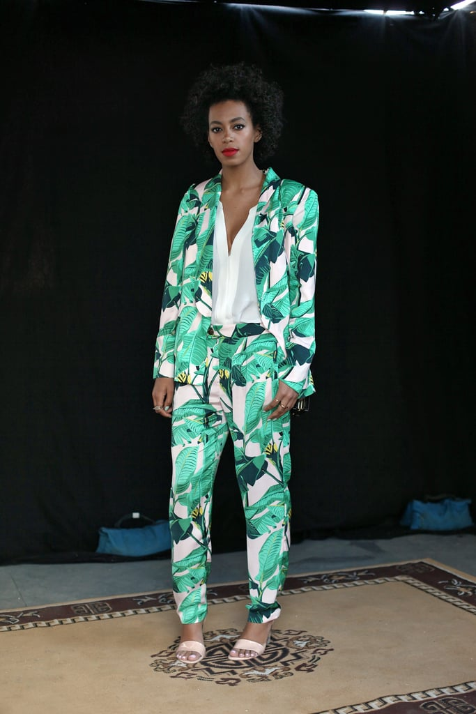 Solange Knowles was undeniably fresh in a green printed suit and nude ankle-strap sandals at the 2013 South by Southwest festival in Austin.