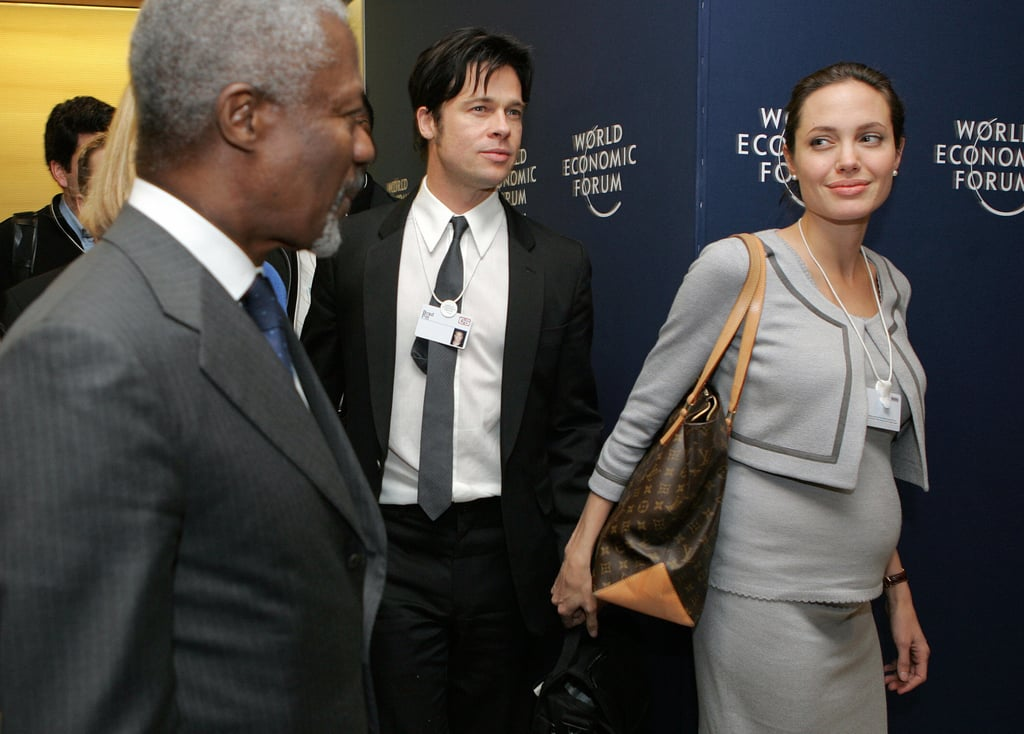 Brad Pitt and a pregnant Angelina Jolie traveled to Switzerland in 2006.