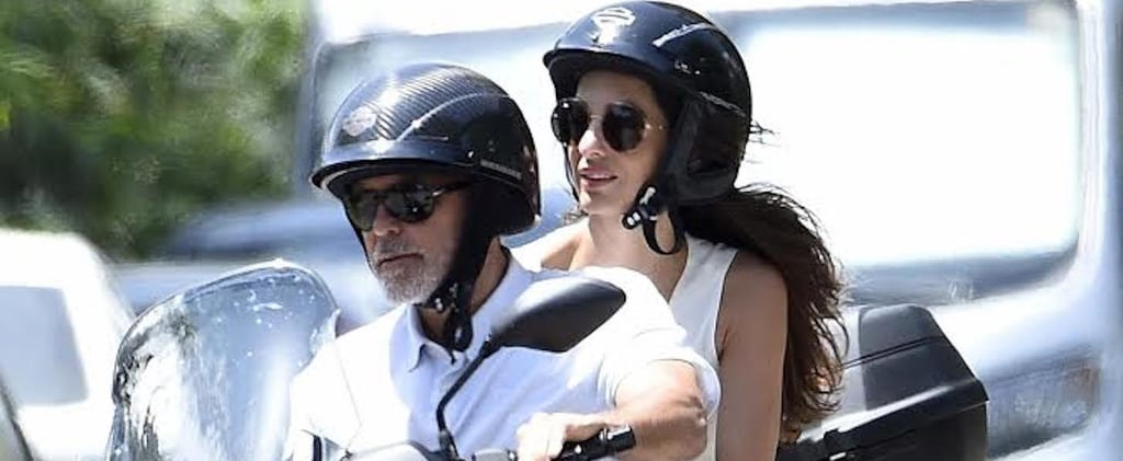 Amal Clooney Braided Sandals on Motorcycle
