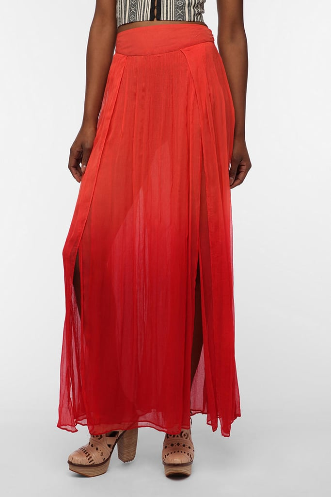 "Style this bold maxi skirt with a casual tee and flat sandals for that ""just got back from a great vacation"" look. Ecote Dip-Dyed Chiffon Maxi Skirt ($89)"