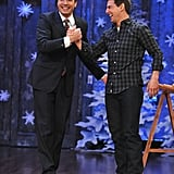 Jimmy Fallon and Tom Cruise congratulated one another on their athletic ability.