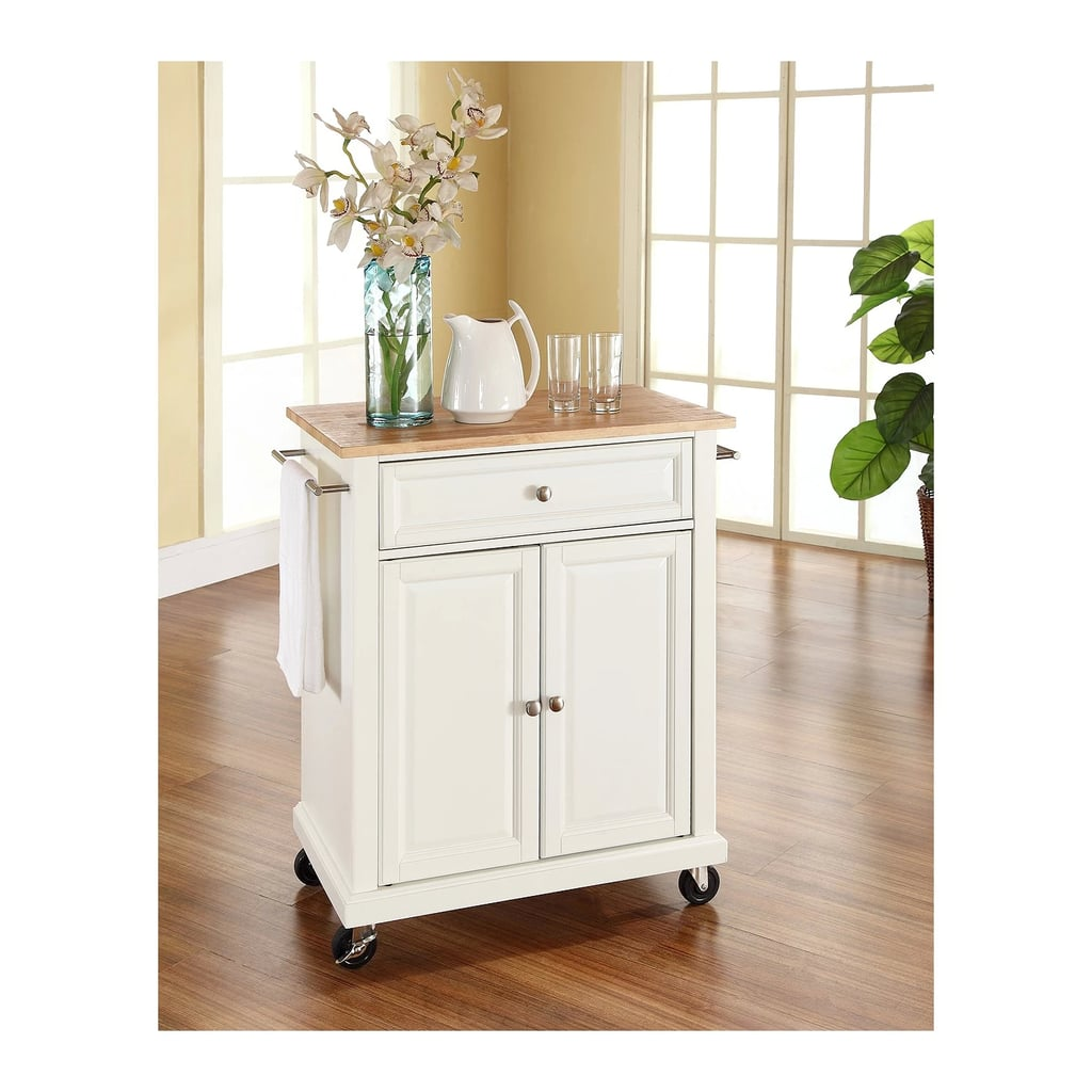 Wood Top Portable Kitchen Cart
