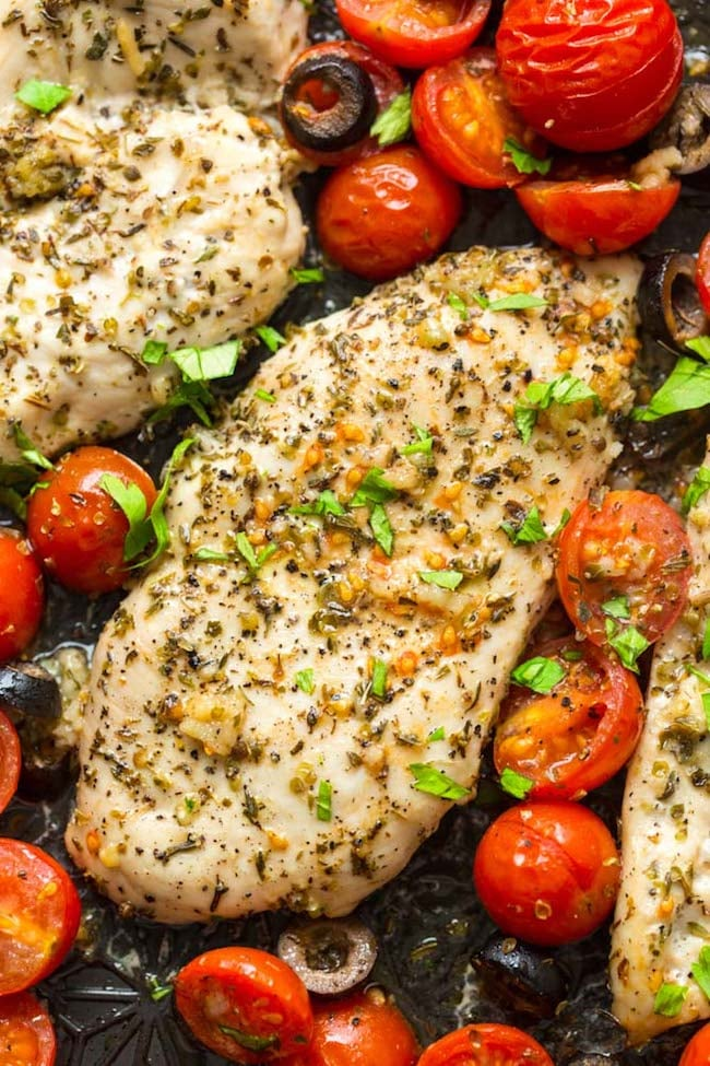 Baked Italian Chicken With Cherry Tomatoes Quick Low Carb Dinner Recipes Popsugar Fitness