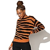 Vylette Tiger Print Boatneck Sweater