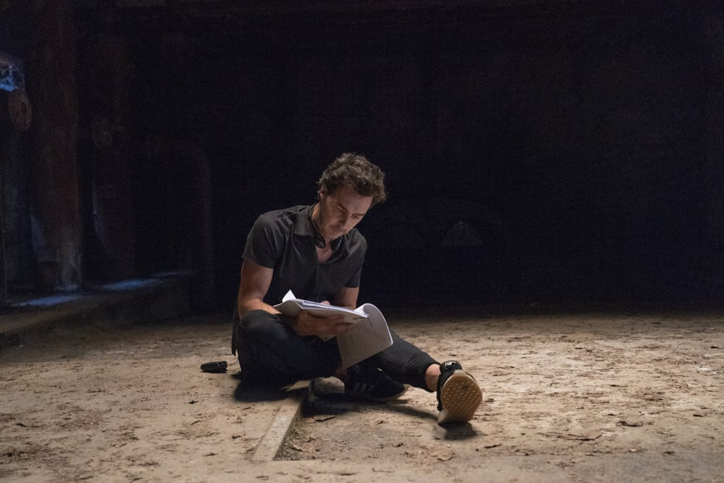 Producer Shawn Levy gets some work done in between scenes.