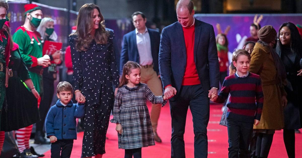 Kate Middleton Wearing Navy Dress With Kids on Red Carpet ...