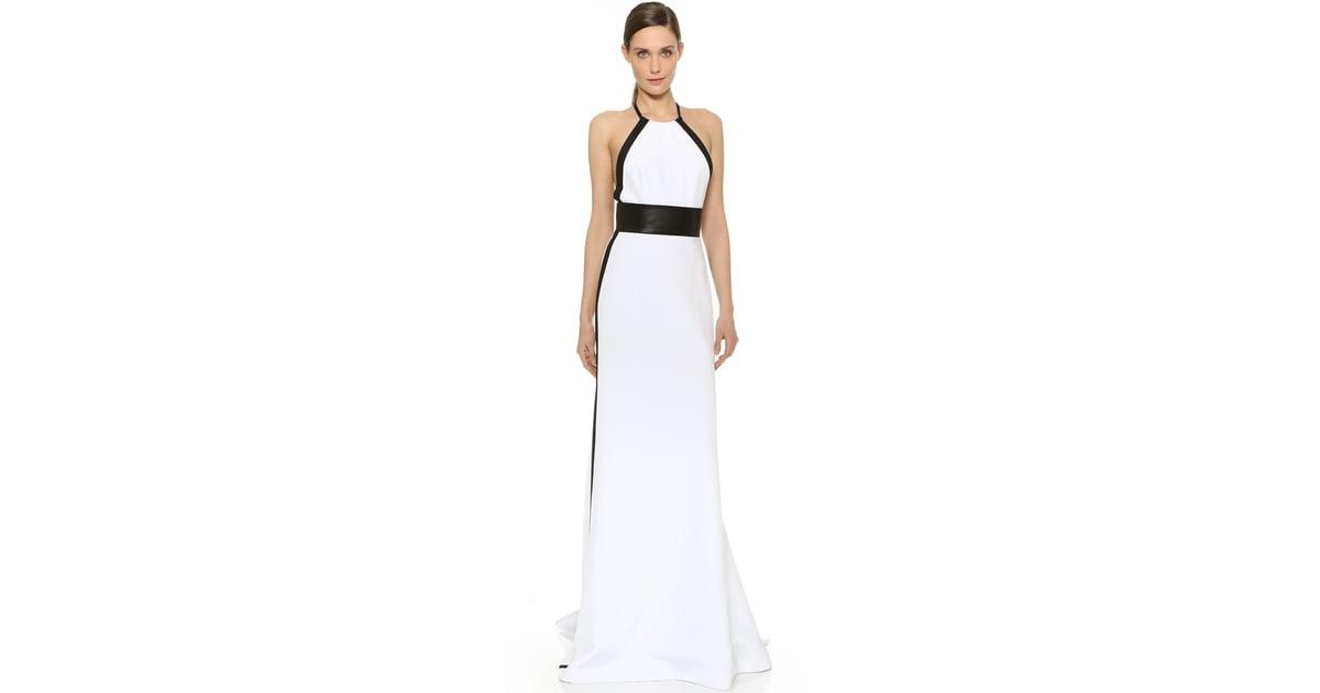 Kaufmanfranco Leather Trim Halter Gown ($4,895) | Unique Wedding ...