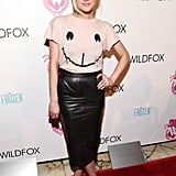 Ashlee Simpson showed her support for the Wildfox presentation working a cheeky Wildfox animal tee, a leather ASOS pencil skirt, and pointed pumps.