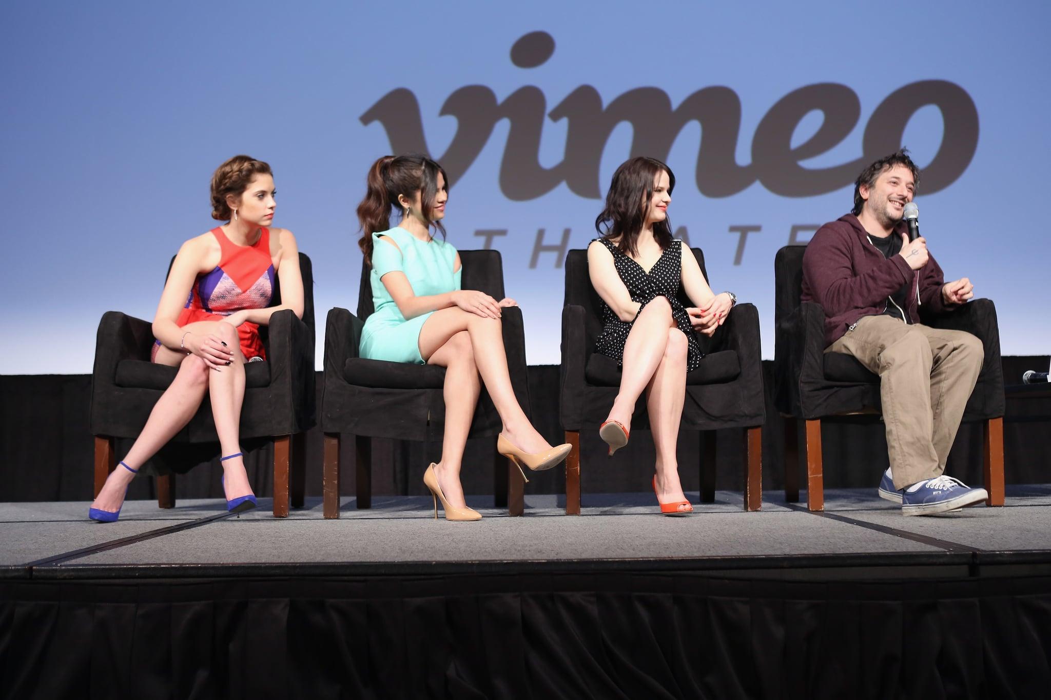 Ashley Benson, Selena Gomez, Rachel Korine, and Harmony Korine attended the Spring Breakers press conference at SXSW.