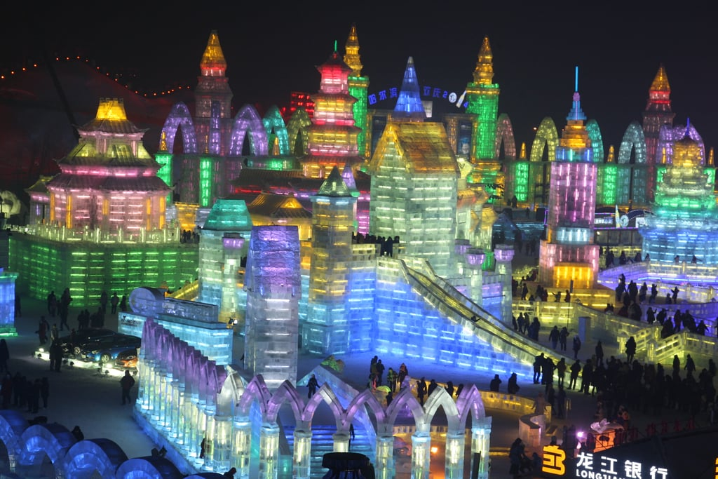 The Harbin International Ice and Snow Sculpture Festival kicked off on Sunday with its official opening ceremony in Harbin, China, with colorful lights illuminating giant ice sculptures. More than 7,000 workers and artists contributed to this year's festival, part of an annual tradition that dates back to 1963. The festivities first started in mid-December, with huge snow sculptures drawing crowds, and the attraction is set to stay open through February, depending on the weather. Speaking of weather — it gets cold (as low as -22 degrees Fahrenheit)! Read on for photos of the Winter wonderland.