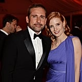 Jessica Chastain met up with Steve Carell at a bash for Foxcatcher.