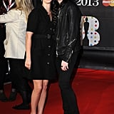 Lana Del Ray and boyfriend Barrie James O'Neil cuddled up on the carpet.