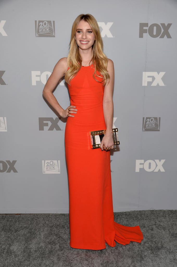 Emma Roberts was clad in a bright orange Stella McCartney gown for the Fox and FX party.