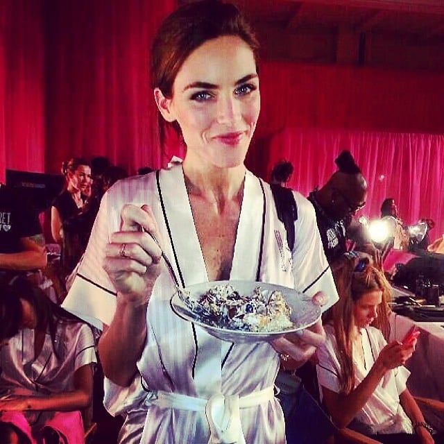 Hilary Rhoda proved models need some sustenance before they don those famous wings. Source: Instagram user hilaryrhodafans
