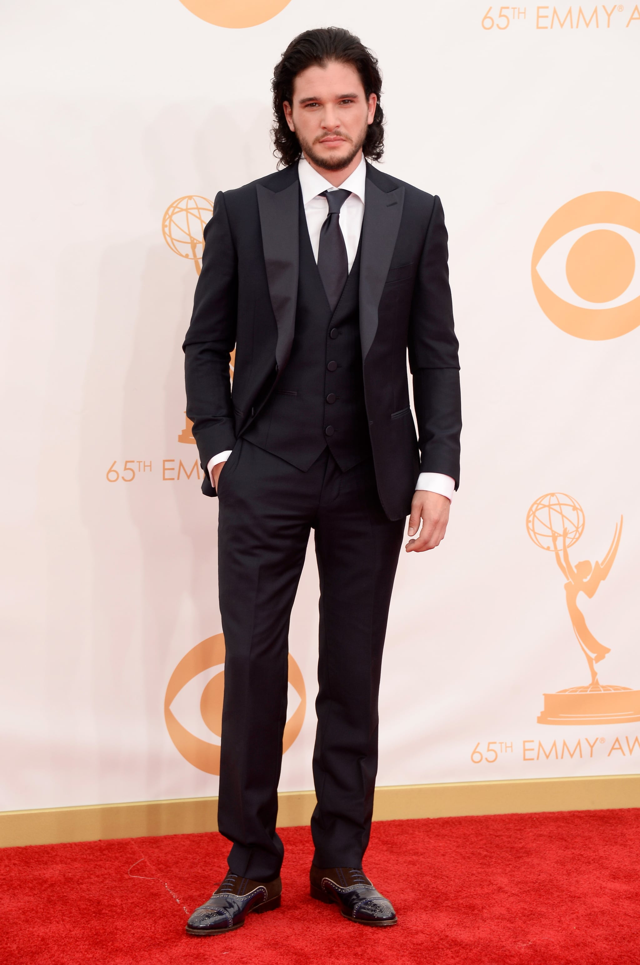 Game of Thrones star Kit Harington walked the Emmys red carpet.
