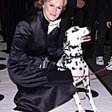 Spotted! One of the Dalmatians from 102 Dalmatians and a not-so-evil Cruella De Vil (Glenn Close) in 2000.