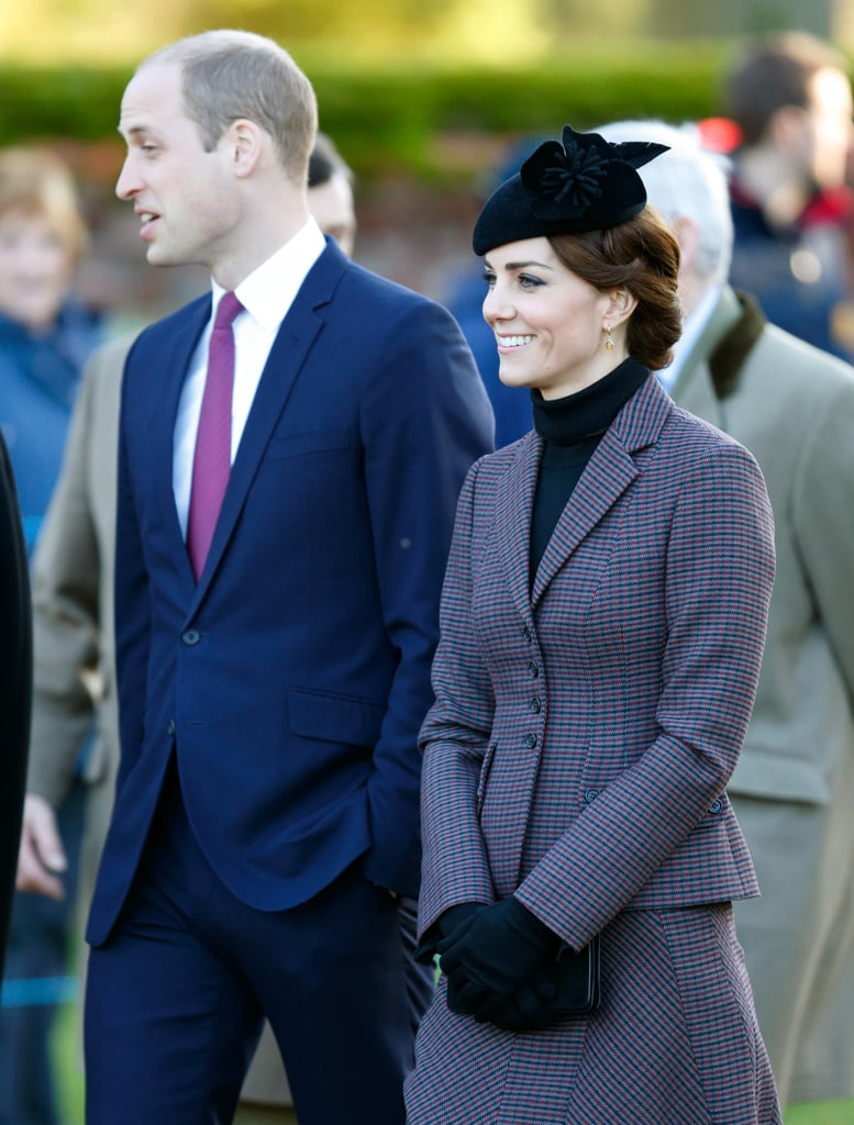 Kate Middleton and Prince William looked to be in good spirits while attending a wreath laying ceremony at the War Memorial Cross in Sandringham. Will and Kate, who turned 34 years old, were accompanied by Kate's family, parents Carole and Michael, siblings Pippa and James, as well as Will's grandmother, Queen Elizabeth II, at the event, which marked the 100th anniversary of the Gallipoli campaign during World War II. Noticeably absent, though, were the royal couple's children, Princess Charlotte and Prince George, who recently started pre-school at the Westacre Montessori School Nursery in Norfolk, England. The outing is just the latest we've seen of the royal pair. Keep reading to see more photos from Will and Kate's day, and then check out all the lavish gifts the Duchess of Cambridge has received from Will.
