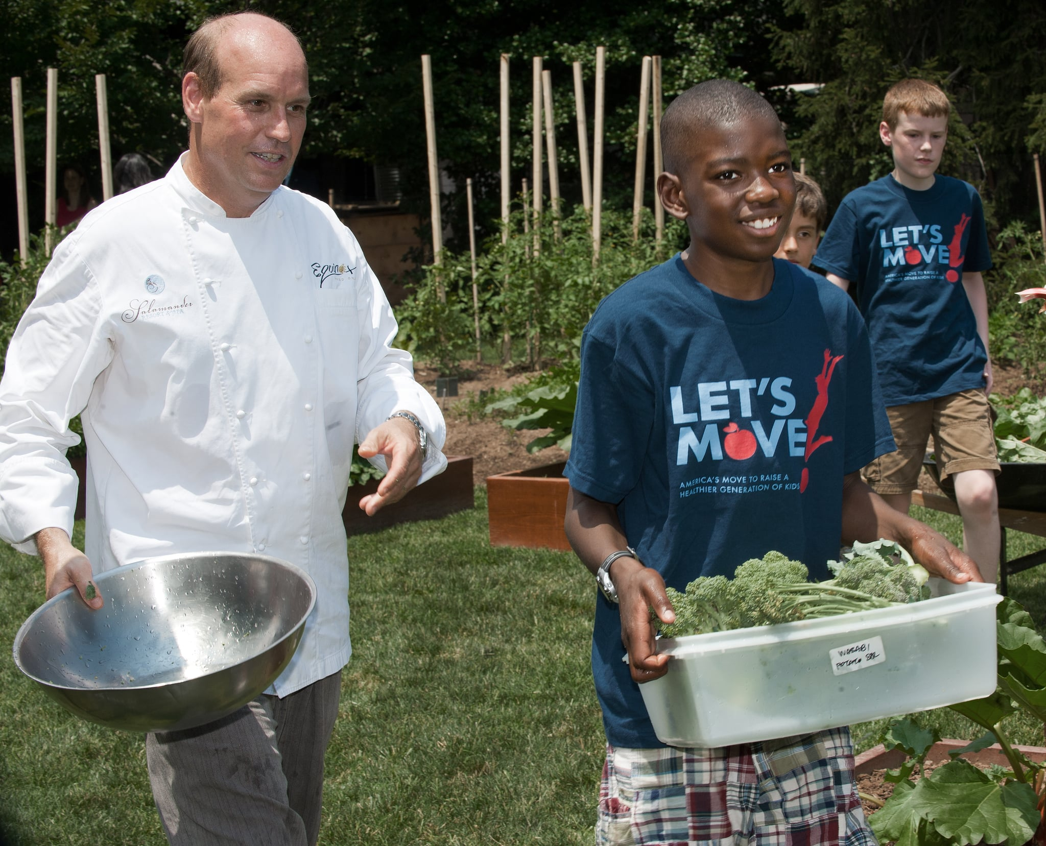 Chef Todd Gray of local DC restaurant Equinox rolled up his sleeves in the garden with elementary school kids as well.