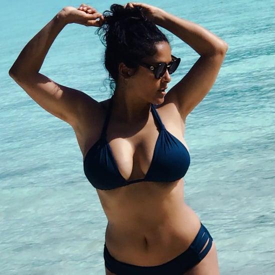 Salma Hayek's Blue Bikini August 2018