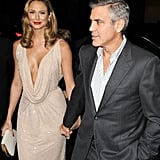 George Clooney arrived to the LA premiere of his new film with Stacy Keibler, who wore a very low cut dress.