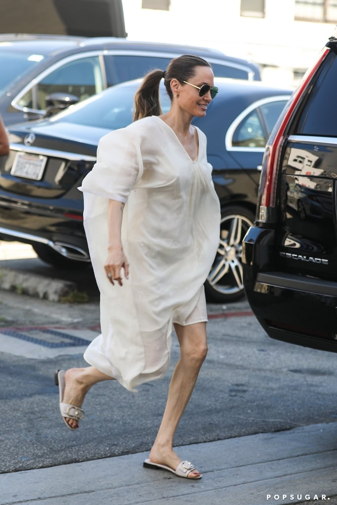 Angelina Jolie White Dress and Slides 2019