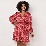 LC Lauren Conrad Plus Size Balloon Sleeve Wrap Dress