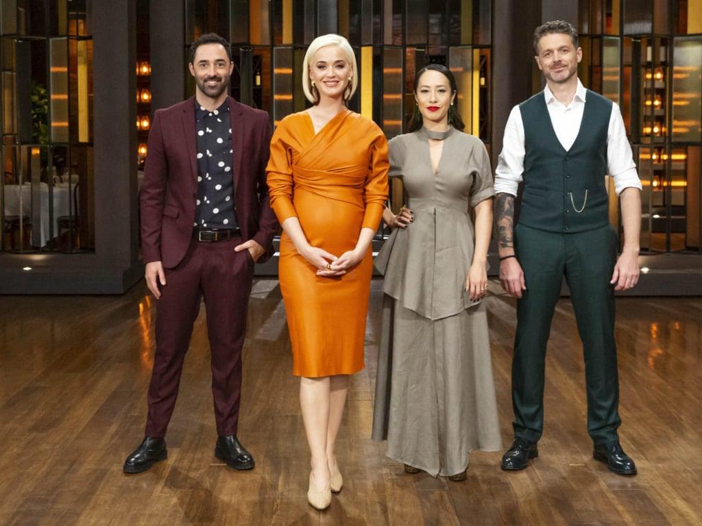 Katy Perry Orange Leather Bottega Veneta Dress Masterchef