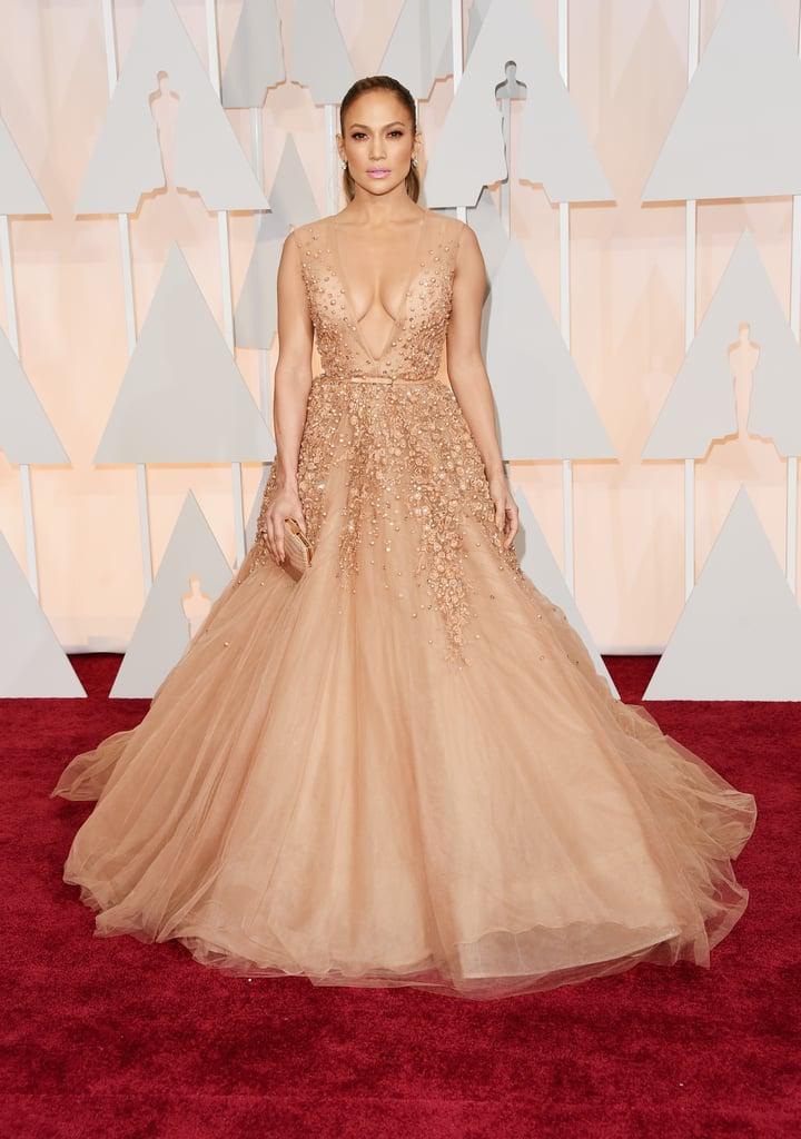 Jennifer Lopez Wearing Elie Saab to the 2015 Academy Awards
