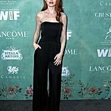 Wearing an Ingie Paris jumpsuit at the 2018 Female Oscar Nominees event.