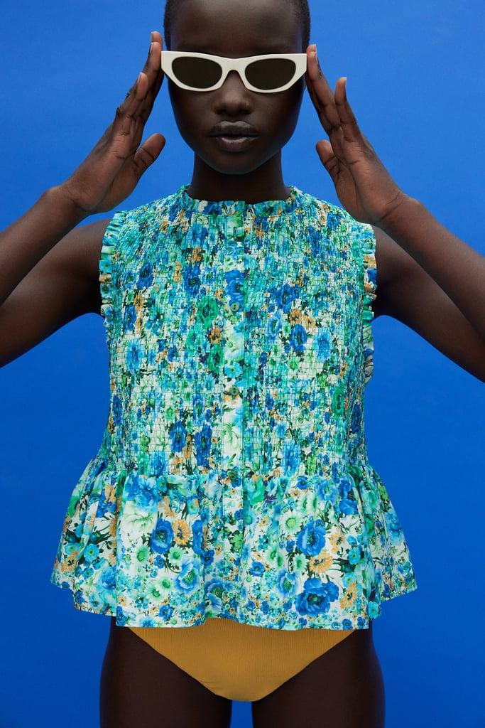 Zara Ruffled Print Top
