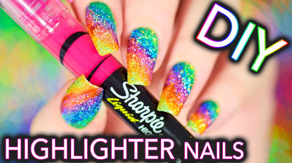 Rainbow Highlighter Nails