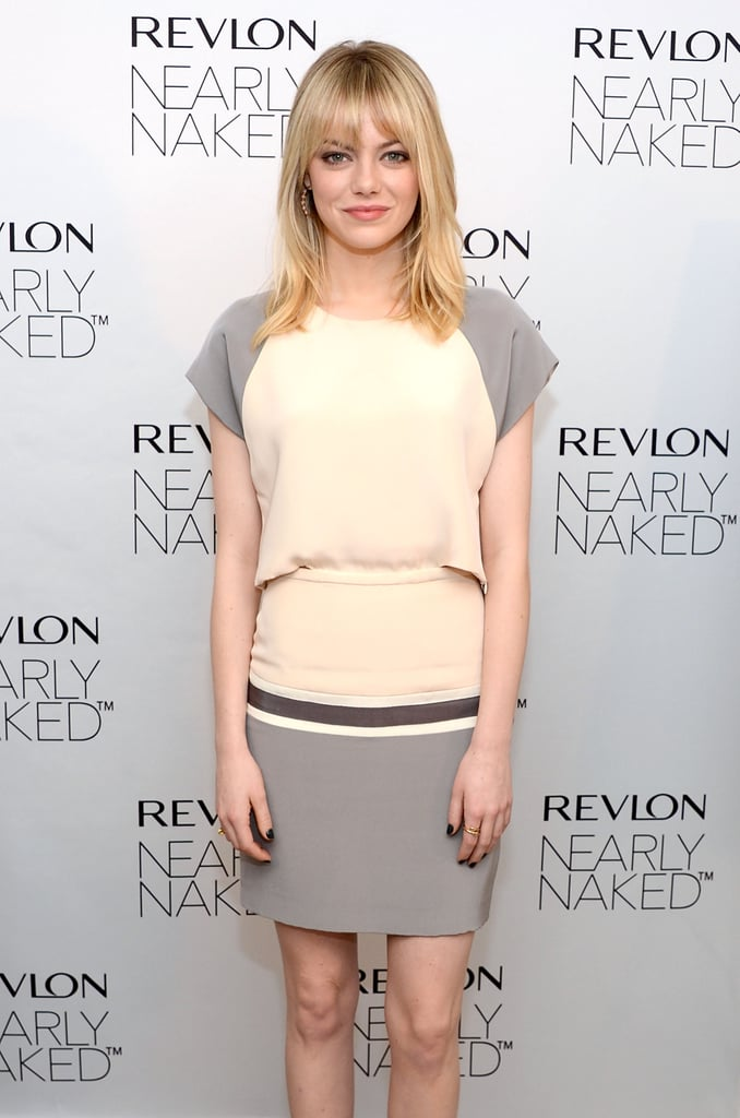 Emma Stone posed at Revlon's Nearly Naked makeup launch in NYC.