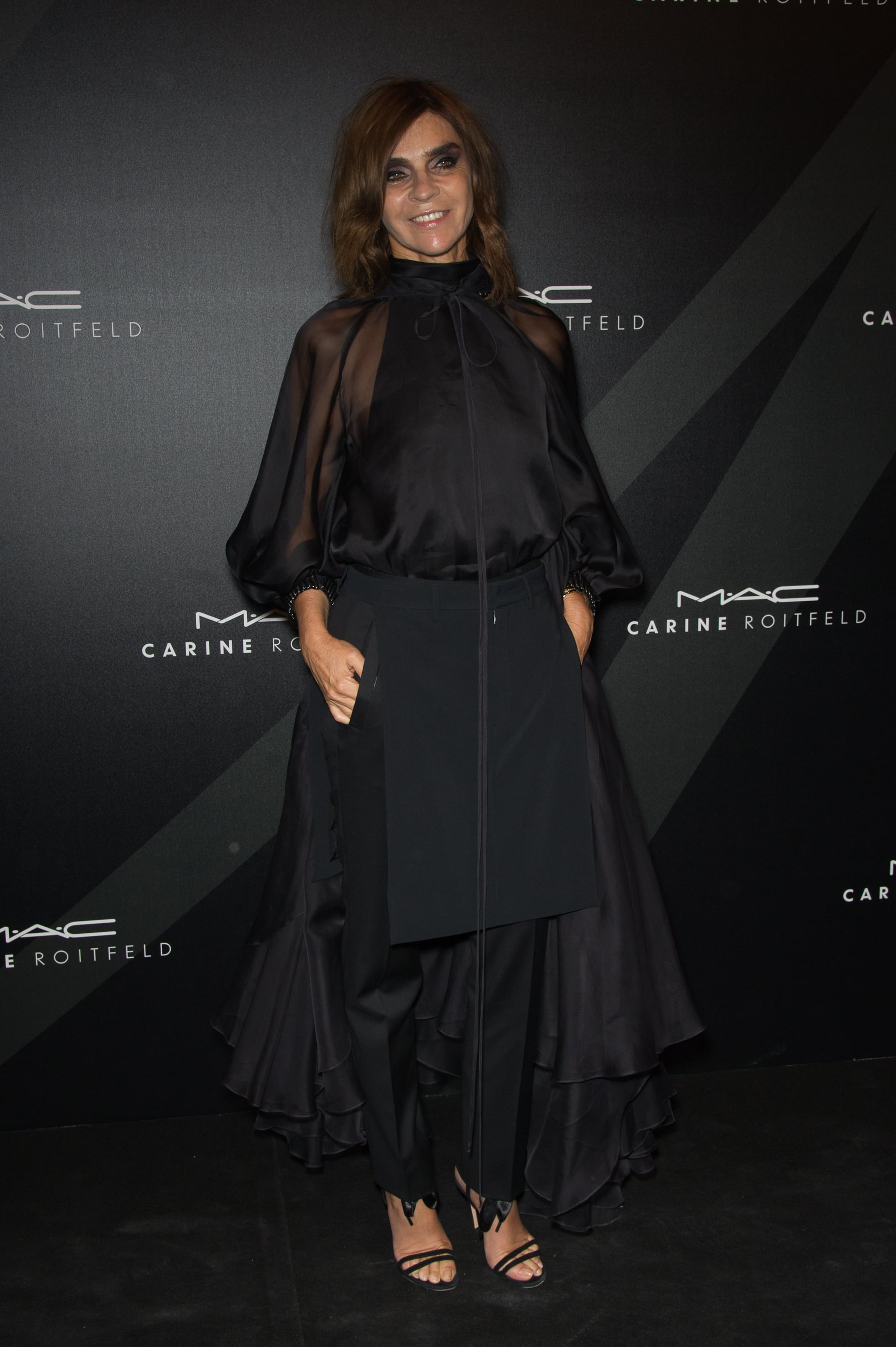 Carine Roitfeld wore a voluminous black gown to her MAC party.