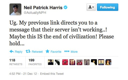 Twitter links not working? How can Neil Patrick Harris go on?